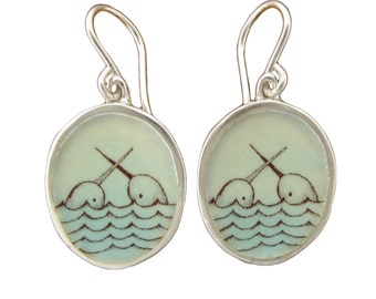 Narwhal Earrings - Sterling Silver and Vitreous Enamel  Narwhal Earrings