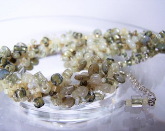 Soft Green & Ivory Necklace, Statement Necklace, Knitted Beaded Jewelry