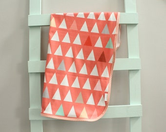 baby blanket organic swaddle coral triangle Geometric PETUNIAS newborn hipster modern baby shower gift photo prop wrap cotton girl boy