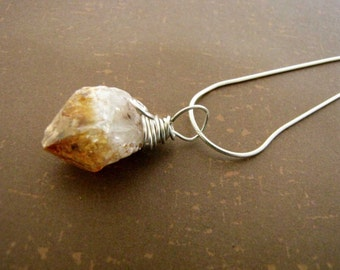 Sterling Silver Wire Wrapped Citrine Pendant Sterling Silver Chain Necklace Minimalist Jewelry Statement Necklace 115