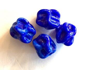 Rare Vintage beads (2)  Japan sculpted  pinch handmade cobalt blue textured bumpy nugget pinch focal beads 12mm (2)