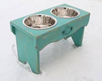 Vintage Style Dog Bowl Holder Elevated Dog Feeder Rustic Cottage Beach Decor Marine Sea Blue