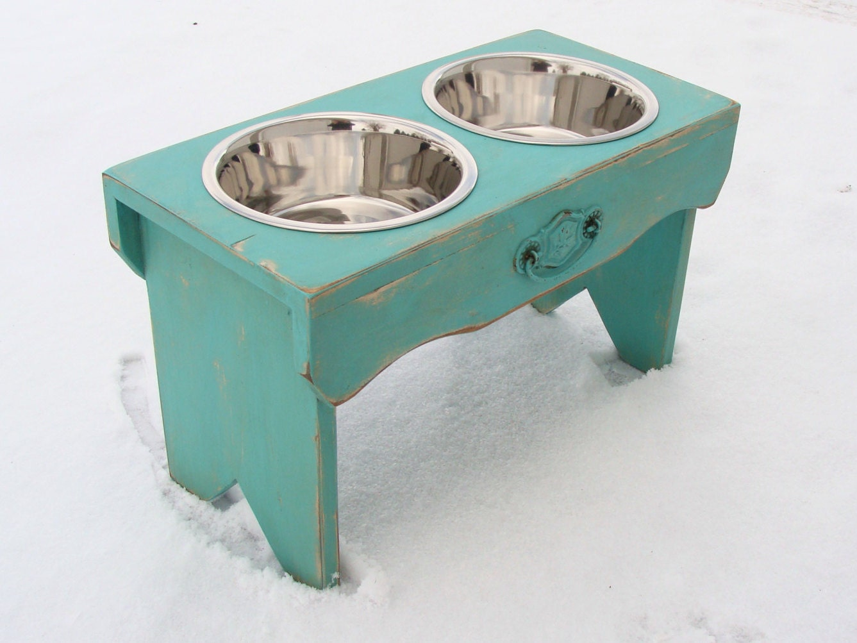 Vintage Style Dog Bowl Holder Elevated Dog Feeder Rustic - photo#11