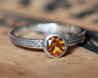 Citrine ring, November birthstone ring, birthstone stacking ring, mothers stackable ring, wheat ring, braided ring, oxidized silver, custom