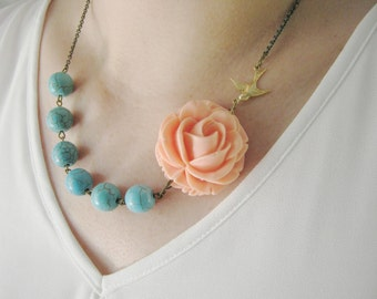 Statement Necklace,Flower Necklace,Coral Flower Necklace,Coral Necklace,Bridesmaid Jewelry,Turquoise Necklace,Turquoise Jewelry,Gift