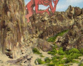 Devil Artwork Original Collage Art on Paper Lucifer Demon Art Satan Hell Wyoming Postcard Comic Illustration