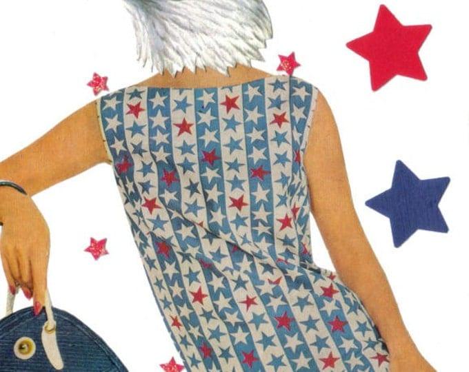 American Bald Eagle Art Collage, Patriotic Stars and Stripes Artwork