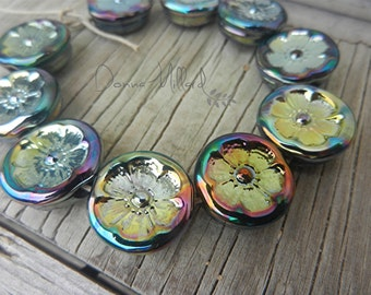SRA HANDMADE LAMPWORK Leaf Impressions Bead set Donna Millard fall colors organic golden gold silver glass blue green iridescence