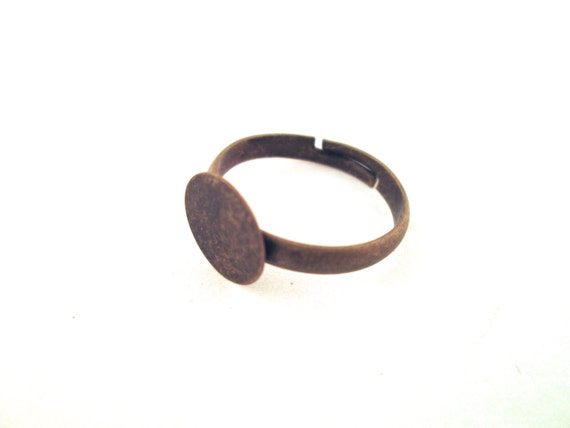 10 10mm blank pad adjustable rings, brass plated, ring bases