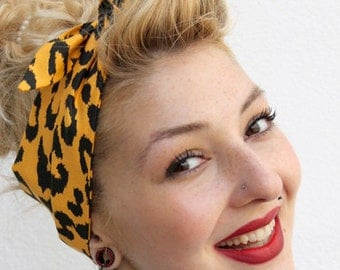 Yellow Leopard Vintage Style 1950s Head Scarf / Hair tie