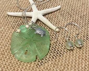 Sea Glass Jewelry Set~ Beach Glass Jewelry ~ Cultured Sea Glass necklace ~sea glass Earring ~ Ladies women's Gift sets~sea turtles ~wedding