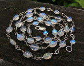 INSTALLMENT 3 .. Super Bright Long Rainbow Moonstone Necklace Genuine Gemstone Sterling Silver 21 Inch Bright Blue Flash Fire Long length