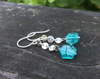 Apatite Gemstone Sterling Silver Earrings, Long Dangle, Peacock Teal, Chunky Faceted Nuggets, Wirewrap Handmade Jewelry