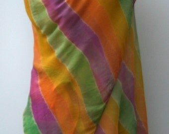 Summer scarf, Ethnic Vintage Scarf, Dupatta stole scarf, orange yellow purple green cover up, Bohemian shoulder shawl, scarf water colors