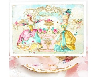 Marie Antoinette card, Birthday card, let them eat cake, French Patisserie, card for girlfriend, tea party invitation, shower tea card, pink
