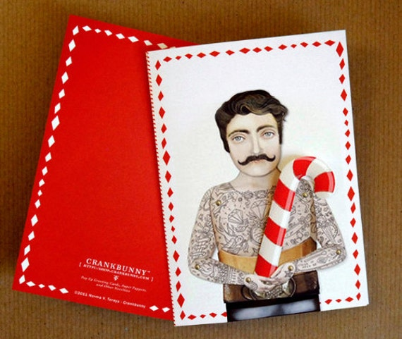 Tattooed Man Holiday Card. Custom cut out gift, heart, hanukkah, star or candy cane. 1 holiday card.