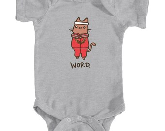 Baby Onesie Word Cute Cat Baby Shirt Break Dance Cat 80s Hip Hop Infant Bodysuit Funny Baby Shower Gift