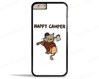 Samsung Galaxy S7 Case Happy Camper Lumber Jack Lumber Cat Cute Cat Phone Case Cute Gift Idea iPhone 6s Case