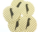 """6 Handmade Primitive Crow  Fabric Circles .  Tan and Cream Check Fabric For Your Crafting and Sewing Projects.  2 1/4"""" or 5.5 cm Circle."""