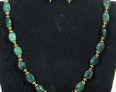 Jade and Gold Necklace with matching Earrings