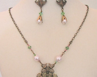 Birds and Bees Necklace with Earrings