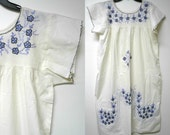 hand embroidered white cotton dress  . fits a large to xl