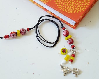 Glasses Beaded Bookmark/ Red And Yellow /Butterflies And Hearts/ Glass Beaded Cord With Metal Charm/ Handmade Book Thong/ Journal Marker