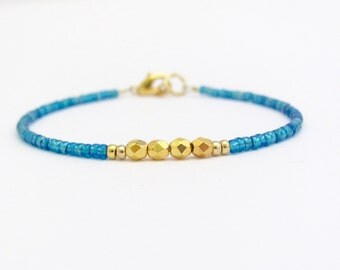 Petrol blue bracelet, seed bead bracelet, blue bracelet, simple bracelet, friendship, minimalist bracelet, blue bracelet, gift idea