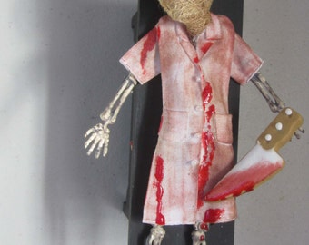 SiLeNt HiLL NurSe hAllowEEn DecOr sKeLeToN ooAK skuLL RiBs EnBaLminG TaBle