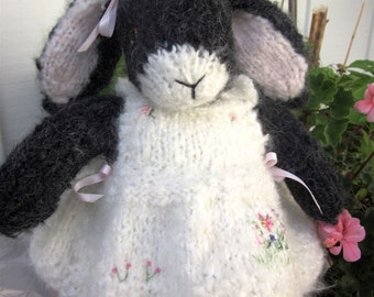 Knit Stuffed Mohair Bunny Doll; Hand Knit, Collectible Heirloom Rabbit, One of a Kind/Lily and the Birthday Gift