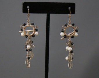 Pearl, Black Spinnel and Quartz Cha-Cha (Or Not) Earrings