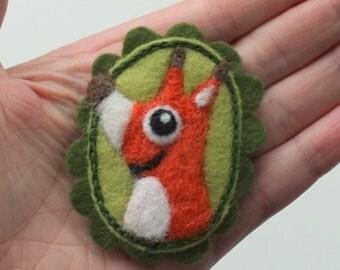 Brooch pin wool felt needle felted happy fox