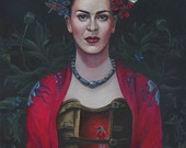 Frida Kahlo Hand-Accented Giclee Canvas Print by Cate Rangel 8x10