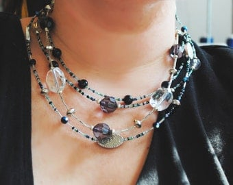 Grey Green and Black Versatile Necklace Set, Many Styles in One!