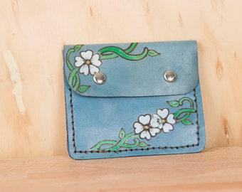 Front Pocket Wallet - Leather in the Willow pattern with flowers and vines - Blue, white, yellow and green