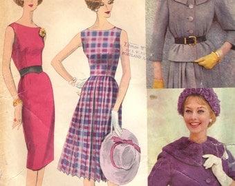 Vogue 196 VOGUE COUTURIER DESIGN Dress & Jacket Straight or Pencil Pleated Skirt  Bateau Neckline Dress circa 1959
