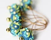 Deluxe Set of Five Handmade Floral Polymer Clay Stitch Markers, The Mermaid