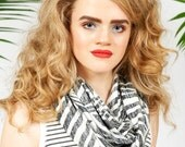 Infinity scarf in abstract palm print - black and white