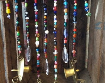 Glass Beaded Garden Art Wind Chime made with recycled parts