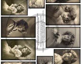 Instant Download - Printable Collage Sheet - Sepia Girls - U-Print - PDF or JPG file