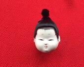 Japanese Doll Head - Hina Matsuri - Japanese Doll Festival - Boy Head - Man's Head - Vintage Doll Head - Small Size D12-6