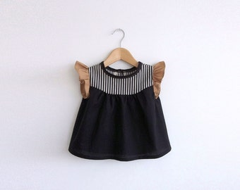 girls cotton blouse with striped detail