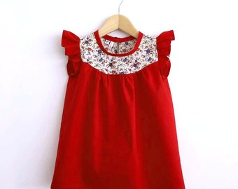 girls red cotton dress with Liberty print detail