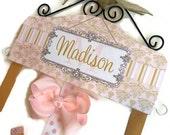 Hair Bow Holder Pink Gold Damask - Personalized HAIR BOW HOLDER Pretty Pink Gold gray HairBow Holder headband holder Organizer Name gift