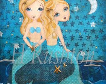 Mermaid Art - Mermaid Decor-  Mixed Media Art- Sisters Art- Moonlight Sister Mermaids (Blondes) Print Sizes 11x14 or 16x20