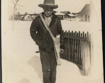 vintage photo 1917 Little Cowboy Delivers Sunday Paper in the Snow