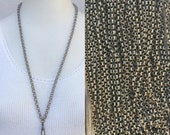 Vintage chain Lanyard Necklace dark silver / steel / gunmetal /gun metal / grung / rustic rolo curb chain Charm holder c144
