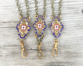 Vintage charm holder Necklace *BULK DISCOUNT* 29 in neck chain w filigree Deco connector. heavy gold bronze chain. old patina. C37