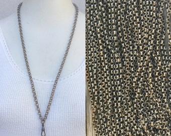 Vintage chain Lanyard Necklace dark silver / steel / gunmetal /gun metal / grung / rustic rolo curb chain Charm holder c144