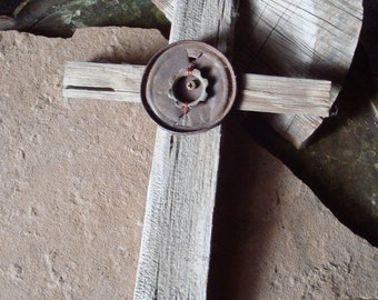 Primitive Reclaimed Barn Wood Cross with Rusted Metal Embellishments House Wall Decor